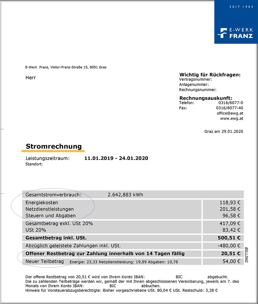 Rechnung Dummy E-Werk Franz